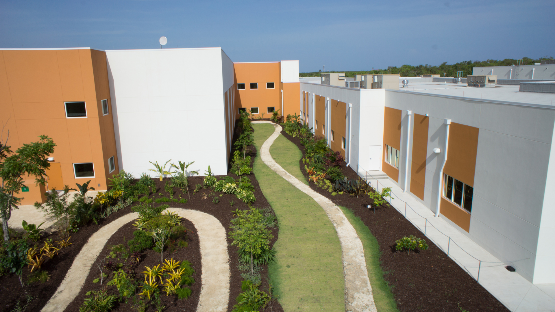 Aerial view of patient path at Health City